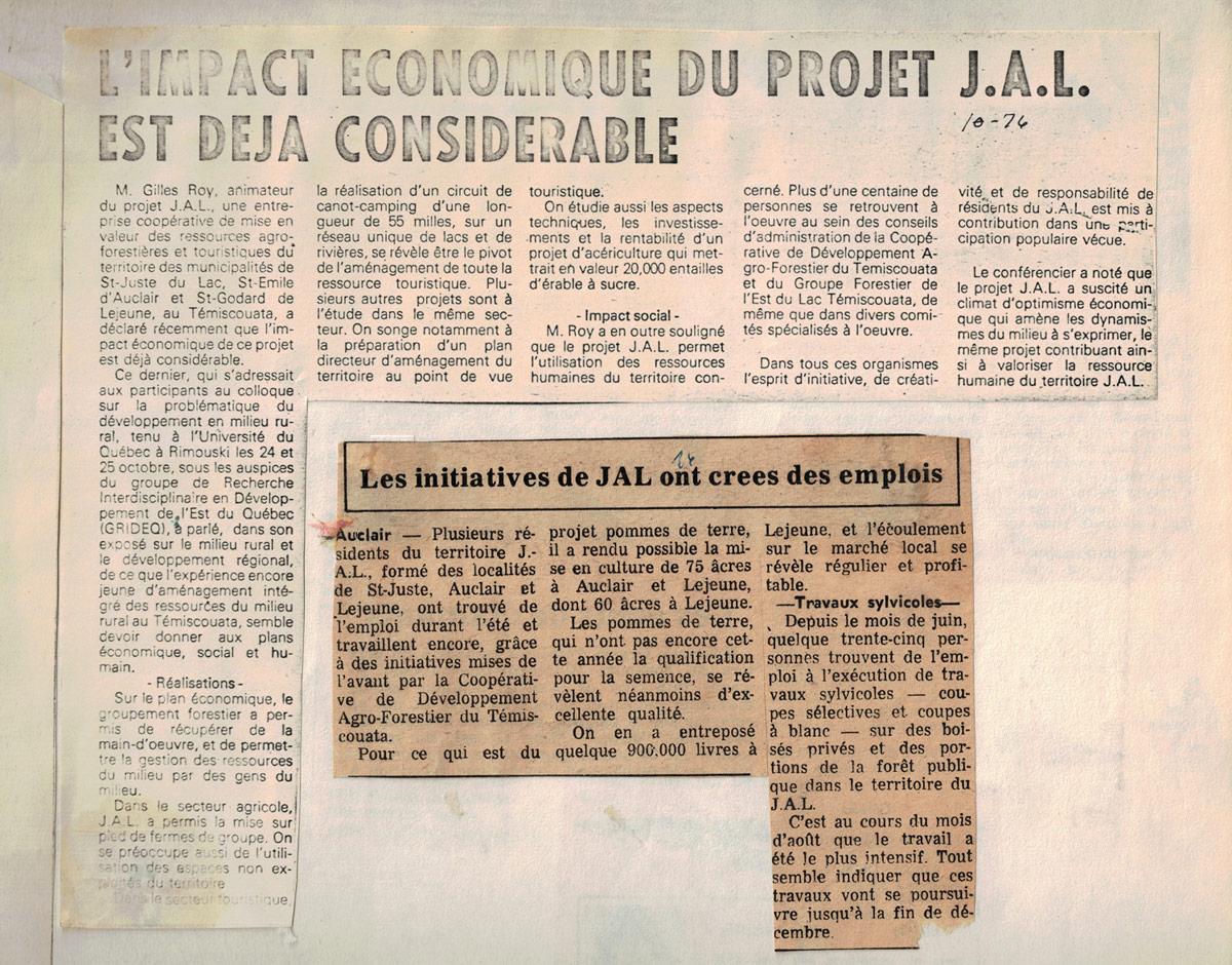 L'impact économique du projet JAL